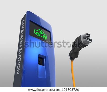 charging station concept for electric vehicle - stock photo