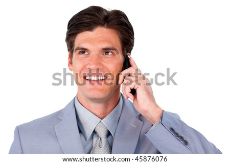 Charismatic businessman talking on phone isolated on a white background