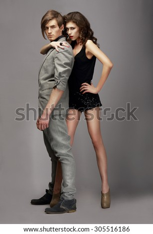 Charismatic Woman and Handsome Man Together - stock photo