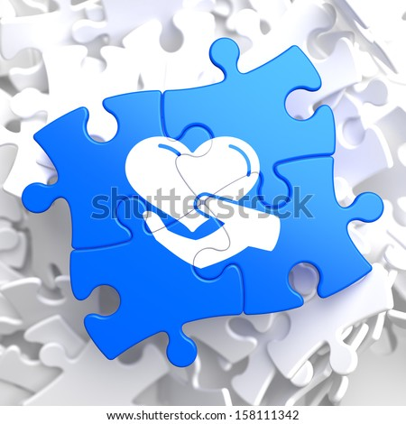 Charity Concept - Icon of Heart in the Hand - Located on Blue Puzzle Pieces. Social Background. - stock photo