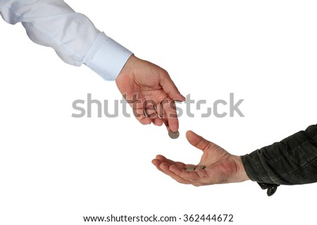 Charity. Rich submits alms to the poor man. Isolation on a white background. Clipping path. - stock photo