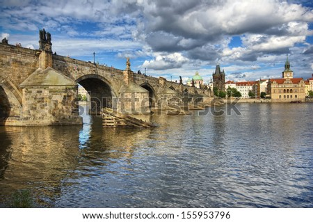 Charles Bridge and Old Town Bridge Tower  in Prague, Czech Republic
