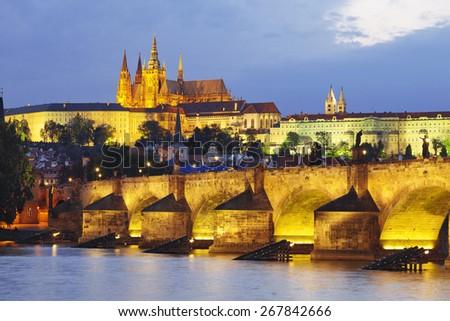 Charles bridge at night. Prague - stock photo