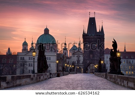 Charles Bridge at sunrise, most beautiful bridge in Czechia. Prague, Czech Republic