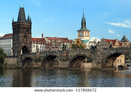 Charles Bridge at the end of a summer day, Prague, Czech Republic - stock photo