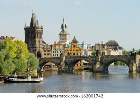 Charles bridge. Cityscape of Prague, Czech republic - stock photo