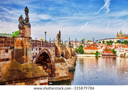 Charles Bridge from the quay of the Vltava River.Czech Republic. - stock photo