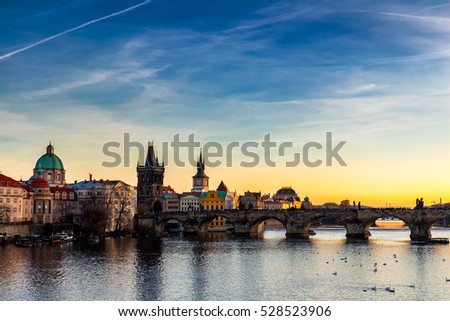 Charles Bridge in Prague at sunset, Czech Republic