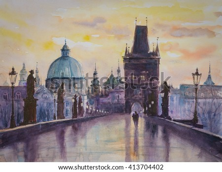 Charles bridge in Prague, Czech Republic. Picture created with watercolors. - stock photo