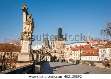 Charles Bridge in Prague in the morning; Czech Republic - stock photo