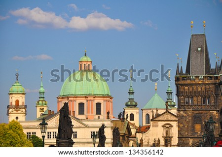 Charles Bridge in Prague (Karluv Most) the Czech Republic. - stock photo