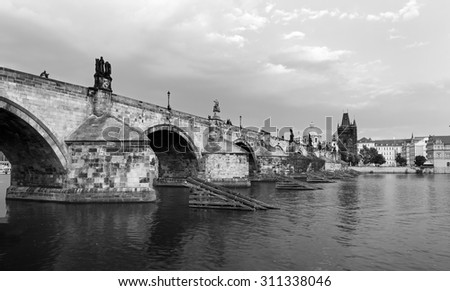 Charles bridge in Prague over Vltava river,Czech republic