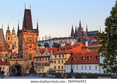 Charles Bridge in the morning, Prague, Czech Republic - stock photo