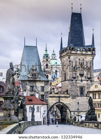 Charles Bridge Lesser Town on a cloudy day in January - stock photo
