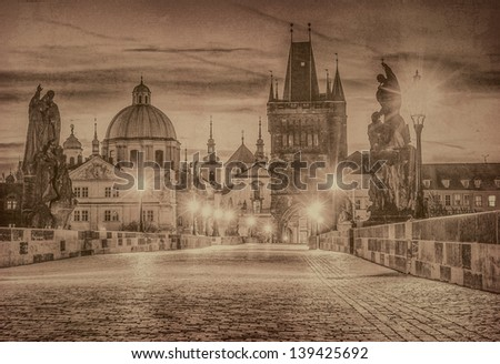Charles Bridge, Prague in old vintage style, Czech Republic