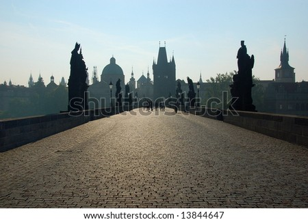 Charles Bridge - Prague's defining landmark - stock photo
