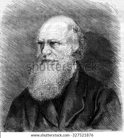 Charles Darwin died in April of 1882 after a photograph, vintage engraved illustration. Magasin Pittoresque 1882. - stock photo