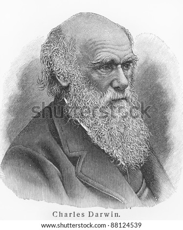 Charles Darwin - Picture from Meyers Lexicon books written in German language. Collection of 21 volumes published  between 1905 and 1909. - stock photo