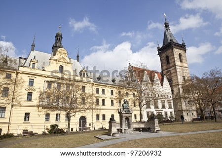 Charles square, karlovo namesti, in prague, czech republic - stock photo