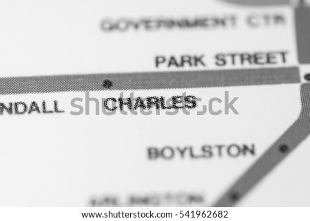 Charles Station. Boston Metro map.