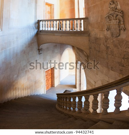 Charles V palace stairs and hall. Vertical panorama - stock photo