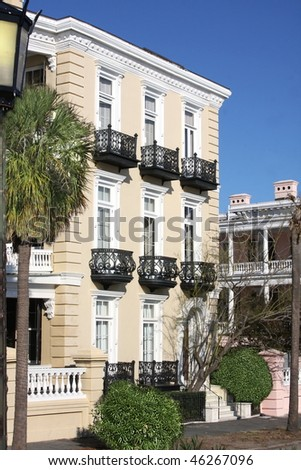 Charleston house- Exterior building details - stock photo