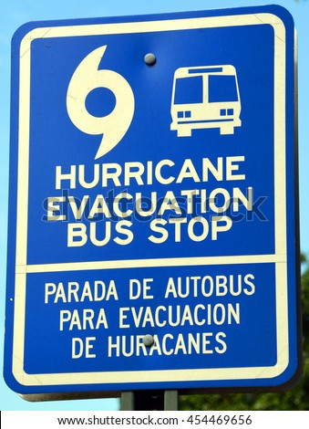 CHARLESTON SC USA JUNE 27 2016: Blue signs that state Hurricane Evacuation Bus Stop. The signs will be posted for residents who don't have transportation in the event of a mandatory evacuation. - stock photo