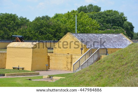 CHARLESTON SC USA JUNE 24 2016: Powder house fort Moultrie is a fortifications on Sullivan's Island, built to protect the city of Charleston named for the commander General William Moultrie.