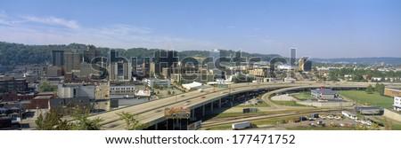Charleston Skyline, State Capitol, West Virginia - stock photo