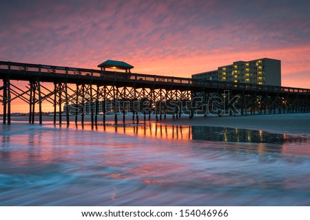 Charleston South Carolina Folly Beach Pier and Waterfront Development - stock photo