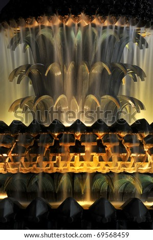 Charleston South Carolina Pineapple Fountain Close Up At Night Vertical - stock photo