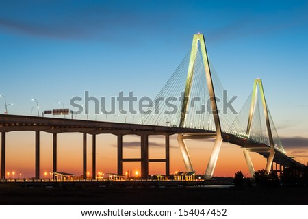 Charleston South Carolina Ravenel Cooper River Bridge Sunset - stock photo