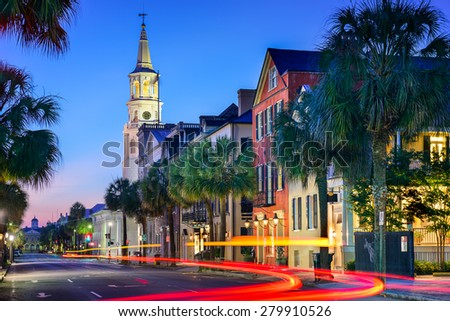 Charleston, South Carolina, USA cityscape in the historic French Quarter at twilight. - stock photo