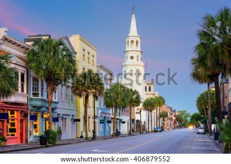 Charleston, South Carolina, USA in the French Quarter. - stock photo
