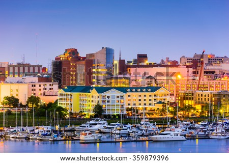 Charleston, South Carolina, USA skyline over the Ashley River. - stock photo