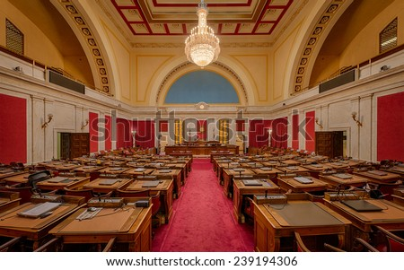 CHARLESTON, WEST VIRGINIA - DECEMBER 17: House of Representatives chamber of the West Virginia State Capitol building on December 17, 2014 in Charleston, West Virginia