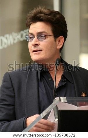 Charlie Sheen at the Ceremony Honoring Chuck Lorre with the 2,380th Star on the Hollywood Walk of Fame. Hollywood Boulevard, Hollywood, CA. 03-12-09