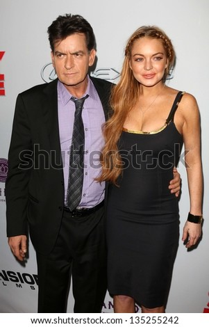 """Charlie Sheen, Lindsay Lohan at the """"Scary Movie V"""" Premiere, Cinerama Dome, Hollywood, CA 04-11-13 - stock photo"""