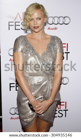 """Charlize Theron at the AFI FEST 2009 Screening of """"The Road"""" held at the Grauman's Chinese Theater in Hollywood, USA on November 4, 2009. - stock photo"""