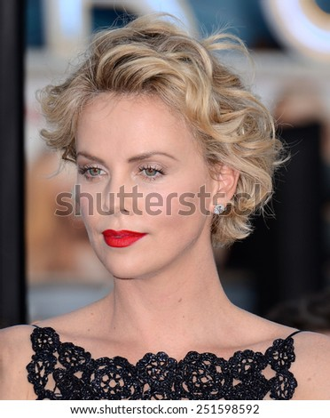 "Charlize Theron at the Los Angeles premiere of ""A Million Ways To Die In The West"" held at the Regency Village Theatre in Los Angeles, California, United States on May 15, 2014.  - stock photo"