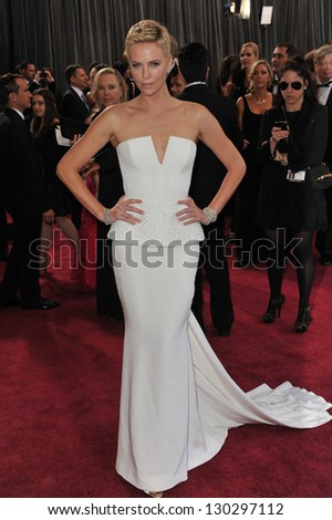 Charlize Theron at the 85th Academy Awards at the Dolby Theatre, Hollywood. February 24, 2013  Los Angeles, CA Picture: Paul Smith - stock photo
