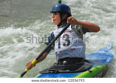 CHARLOTTE - APRIL 26:  Jordan Poffenberger of the USA competes in the Olympic Team Trials for Whitewater Slalom at the U.S. National Whitewater Center on April 26, 2008 in Charlotte, NC.