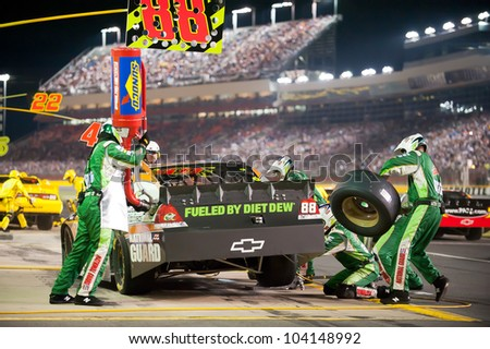 CHARLOTTE, NC - MAY 19: Pit stop for Dale Earnhart Jr  at the Nascar All Star race at Charlotte Motorspeedway in Charlotte, NC on May 19, 2012 - stock photo