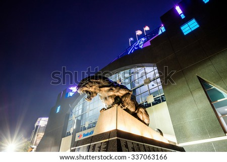 Charlotte, NC - OCT 25 :  Panthers NFL Stadium in downtown Charlotte on October 25,2015 - stock photo