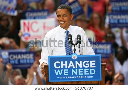 CHARLOTTE, NC - SEP 21:  Democratic nominee, Barack Obama, makes a campaign stop on Sept 21, 2008 in Charlotte, NC - stock photo