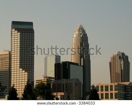 Charlotte NC skyline at dusk - stock photo