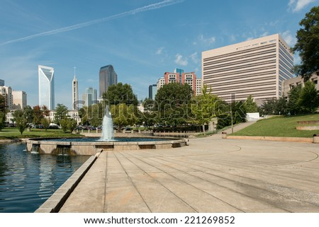 Charlotte, North Carolina city skyline as seen from Marshall Park - stock photo