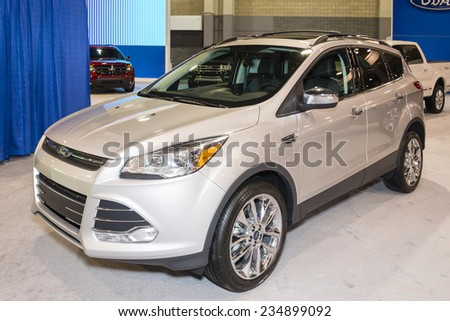 CHARLOTTE, NORTH CAROLINA - NOVEMBER 20, 2014: Ford Escape on display during the 2014 Charlotte International Auto Show at the Charlotte Convention Center. - stock photo