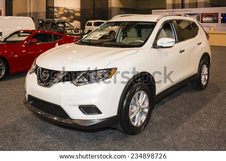 CHARLOTTE, NORTH CAROLINA - NOVEMBER 20, 2014: Nissan Rogue on display during the 2014 Charlotte International Auto Show at the Charlotte Convention Center.