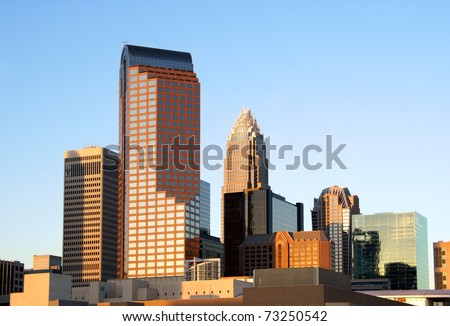 Charlotte, North Carolina, skyline in the afternoon sun. - stock photo